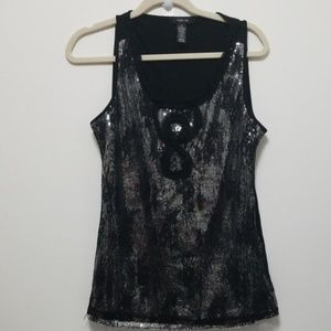 Style & Co black sequin top, lace overlay